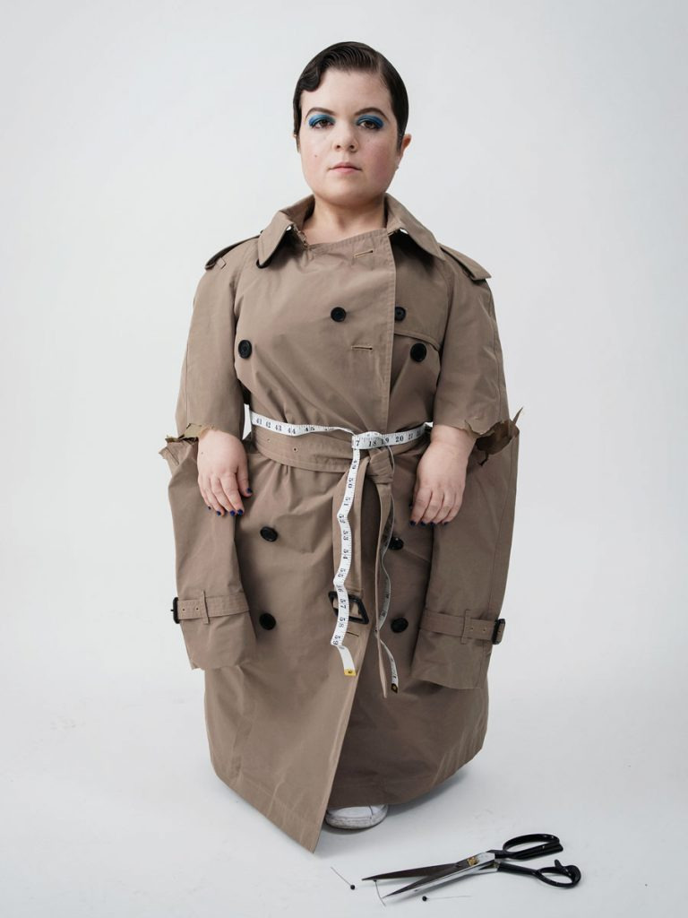 Body Beautiful Model Sinead in rain mac with cut sleeves