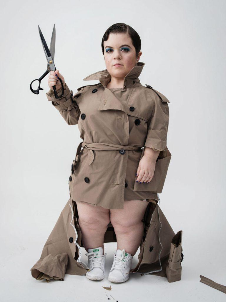 Body Beautiful Model Sinead in rain mac cut sleeves and coat